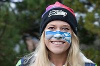 Hawk Girl, Seattle Seahawks 12th Man Fans, Playoff Rally, Renton, WA, USA.