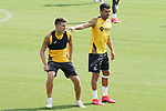 Getafe's Francisco Portillo (l) and Angel Rodriguez during training session. August 3,2020.(ALTERPHOTOS/Acero)