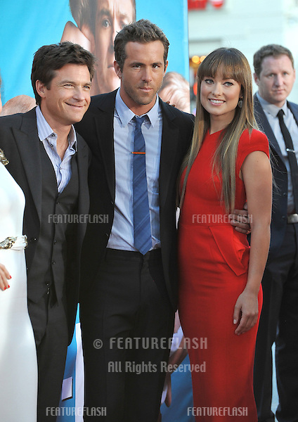 Jason Bateman (left), Ryan Reynolds & Olivia Wilde at the world premiere of their new movie The Change-Up at the Regency Village Theatre, Westwood..August 1, 2011  Los Angeles, CA.Picture: Paul Smith / Featureflash