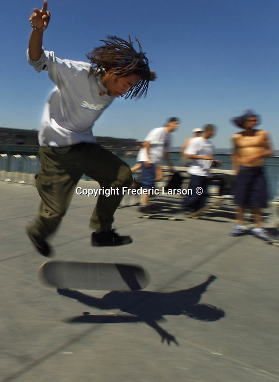 Karl Watson, 23, is a professional skateboarder and practices about three hours a day on Pier 7, along with all the other skateboarders who come there from around the city of San Francisco, California.