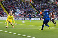 Demarai Gray of Leicester City has a shot saved by Jake Eastwood of Sheffield United during the Carabao Cup match between Sheffield United and Leicester City at Bramall Lane, Sheffield, England on 22 August 2017. Photo by James Williamson / PRiME Media Images.