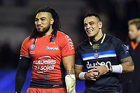Ma'a Nonu of Toulon and Kahn Fotuali'i of Bath Rugby look on after the match. European Rugby Champions Cup match, between RC Toulon and Bath Rugby on December 9, 2017 at the Stade Mayol in Toulon, France. Photo by: Patrick Khachfe / Onside Images