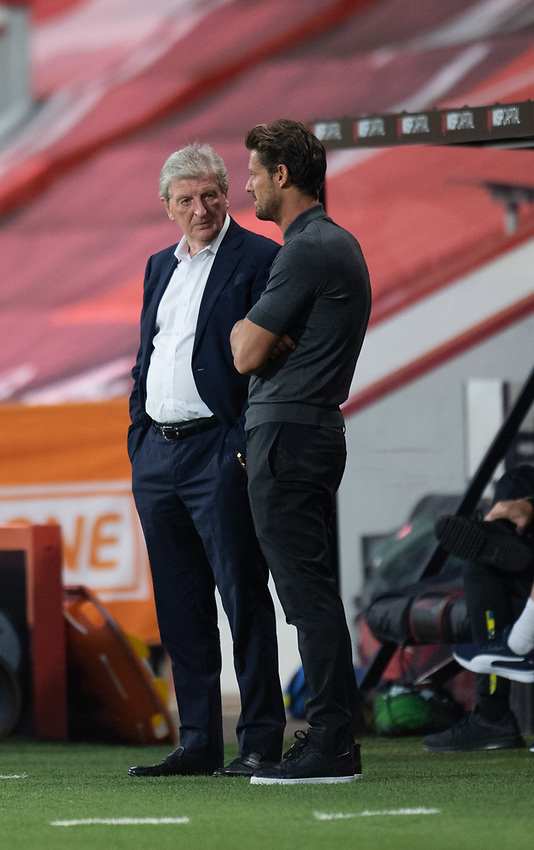 Crystal Palace manager Roy Hodgson (left) chatting to Bournemouth manager Jason Tindall (right) during the pre-match warm-up <br /> <br /> Photographer David Horton/CameraSport<br /> <br /> Carabao Cup Second Round Southern Section - Bournemouth v Crystal Palace - Tuesday 15th September 2020 - Vitality Stadium - Bournemouth<br />  <br /> World Copyright © 2020 CameraSport. All rights reserved. 43 Linden Ave. Countesthorpe. Leicester. England. LE8 5PG - Tel: +44 (0) 116 277 4147 - admin@camerasport.com - www.camerasport.com