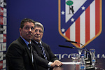Diego Pablo `Cholo´ Simeone (L) and Enrique Cerezo during Simeone´s contract renewal announcement as Atletico de Madrid´s coach until 2020, in Madrid, Spain. March 24, 2015. (ALTERPHOTOS/Victor Blanco)