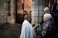 CAPE TOWN, SOUTH AFRICA - MAY 9: Archbishop Desmond Tutu holds a early morning mass on May 9, 2014 at St Georges Cathedral in central Cape Town, South Africa. Mr. Tutu, a South African liberation leader often criticizes the South African government and other issues that he feels strongly about. Now retired, he lectures around the world and works with the Desmond Tutu & Leah Tutu Legacy Foundation. (Photo by Per-Anders Pettersson)