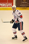 March 13, 2009:  Right Wing Randall Gelech (42) of the Rochester Amerks, AHL affiliate of the Florida Panthers, in the first period during a game at the Blue Cross Arena in Rochester, NY.  Toronto defeated Rochester 4-2.  Photo copyright Mike Janes Photography 2009