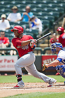 Memphis Redbirds catcher Audry Perez #40 follows through on his swing during the Pacific Coast League baseball game against the Round Rock Express on April 27, 2014 at the Dell Diamond in Round Rock, Texas. The Express defeated the Redbirds 6-2. (Andrew Woolley/Four Seam Images)
