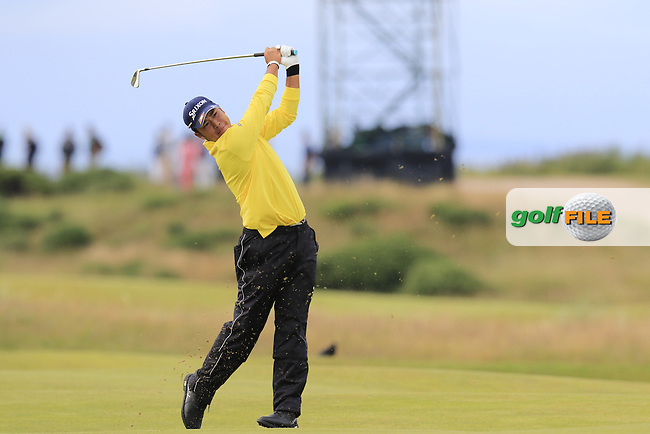 Hideki Matsuyana (JPN) plays his 2nd shot on the 14th hole during Sunday's Round 3 of the 144th Open Championship, St Andrews Old Course, St Andrews, Fife, Scotland. 19/07/2015.<br /> Picture Eoin Clarke, www.golffile.ie