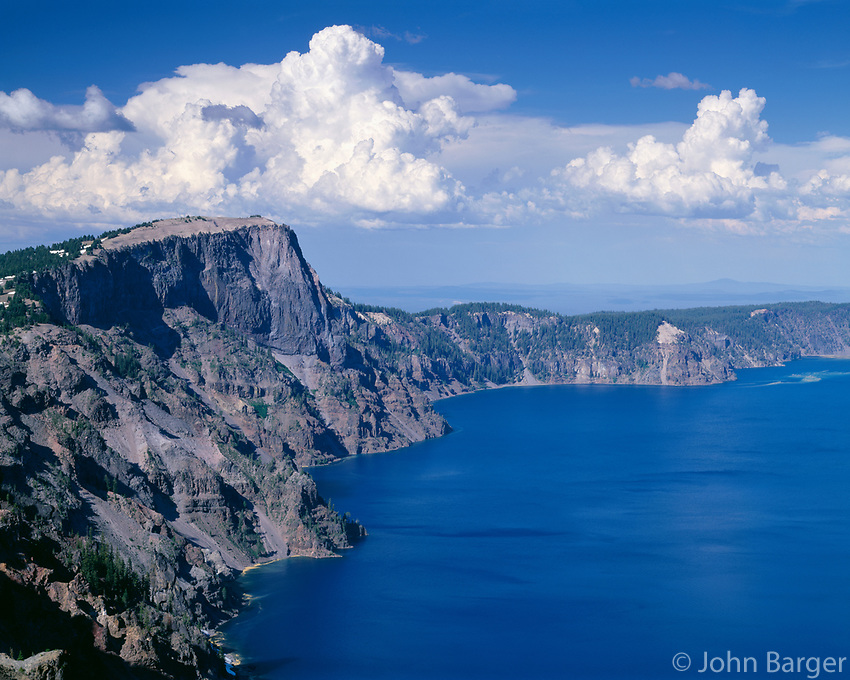 ORCL _057 - USA, Oregon, Crater Lake National Park, Thunder clouds float over Llao Rock (left) and north rim of Crater Lake.
