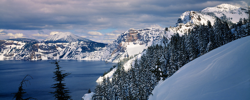 Crater Lake with snow. Oregon.