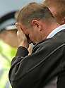 16/09/2006        Copyright Pic: James Stewart.File Name : sct_jspa18_falkirk_v_aberdeen.FALKIRK MANAGER JOHN HUGHES CAN'T BEAR TO WATCH HIS TEAM GET BEAT AGAIN.....Payments to :.James Stewart Photo Agency 19 Carronlea Drive, Falkirk. FK2 8DN      Vat Reg No. 607 6932 25.Office     : +44 (0)1324 570906     .Mobile   : +44 (0)7721 416997.Fax         : +44 (0)1324 570906.E-mail  :  jim@jspa.co.uk.If you require further information then contact Jim Stewart on any of the numbers above.........