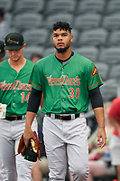 Down East Wood Ducks Jefferson Medina (30) before a Carolina League game against the Fayetteville Woodpeckers on August 13, 2019 at SEGRA Stadium in Fayetteville, North Carolina.  Fayetteville defeated Down East 5-3.  (Mike Janes/Four Seam Images)