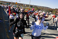 Runners from Wave Three cross the Verrazano-Narrows Bridge at the start of the ING New York City Marathon on Staten Island on 07 November 2010.