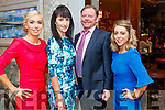 Saoirse Fitzgerald (Moyvane), Patricia O'Herlihy (Listowel), Kevin Barry (Listowel) and Dawn Quade (Moyvane), enjoying the Kerry Badminton Social held at The Rose Hotel, Tralee on Saturday last.