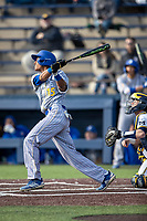 San Jose State Spartans second baseman Nico Malbrough (15) follows through on his swing against the Michigan Wolverines on March 27, 2019 in Game 1 of the NCAA baseball doubleheader at Ray Fisher Stadium in Ann Arbor, Michigan. Michigan defeated San Jose State 1-0. (Andrew Woolley/Four Seam Images)