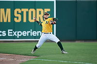 AZL Athletics Gold left fielder Rafael Rincones (8) throws to second base during an Arizona League game against the AZL Rangers on July 15, 2019 at Hohokam Stadium in Mesa, Arizona. The AZL Athletics Gold defeated the AZL Athletics Gold 9-8 in 11 innings. (Zachary Lucy/Four Seam Images)