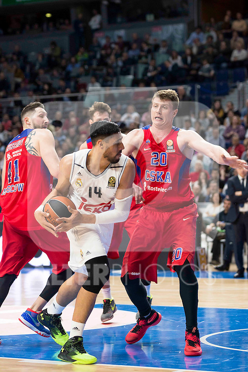 Real Madrid's player Gustavo Ayon and CSKA Moscu's player Vorontsevich during the match between Real Madrid and CSKA Moscu of Turkish Airlines Euroleague at Barclaycard Center in Madrid, March 02, 2016. (ALTERPHOTOS/BorjaB.Hojas) during the match between Real Madrid and CSKA Moscu of Turkish Airlines Euroleague at Barclaycard Center in Madrid, March 02, 2016. (ALTERPHOTOS/BorjaB.Hojas) and CSKA Moscu's player XXX during the match between Real Madrid and CSKA Moscu of Turkish Airlines Euroleague at Barclaycard Center in Madrid, March 02, 2016. (ALTERPHOTOS/BorjaB.Hojas) during the match between Real Madrid and CSKA Moscu of Turkish Airlines Euroleague at Barclaycard Center in Madrid, March 02, 2016. (ALTERPHOTOS/BorjaB.Hojas)
