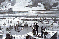 New York:  New York Harbor, 1873.  From Brooklyn Tower of Bridge.  Trinity Church Tower visible.  Photo '78.