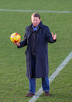 Bill Turnbull with a match ball during BBC Breakfast as they air their live broadcast on Tuesday morning, presented by Bill Turnbull for his penultimate appearance on the programme at Adams Park, High Wycombe, England on 23 February 2016. Photo by Andy Rowland.