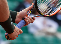 Paris, France, 22 June, 2016, Tennis, Roland Garros, Male hands holding a tennis racket<br /> Photo: Henk Koster/tennisimages.com