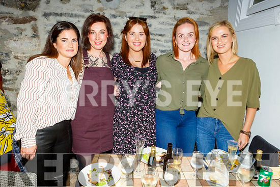 Deirdre Bowler (Ballinorrig), Fiona Bailey (Tonavane), Aoife O'Dowd (Annagh), Kerry Ann Boylan (Tralee) and Heather Durney enjoying the evening in Bella Bia on Saturday and Kerry Ann Boylan has wedding put back 2 hours on Saturday next in the Ballygarry House Hotel so she can watch the Kerry Dublin replay.