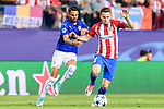 Saul Niguez Esclapez (r) of Atletico de Madrid battles for the ball with Riyad Mahrez of Leicester City during their 2016-17 UEFA Champions League Quarter-Finals 1st leg match between Atletico de Madrid and Leicester City at the Estadio Vicente Calderon on 12 April 2017 in Madrid, Spain. Photo by Diego Gonzalez Souto / Power Sport Images