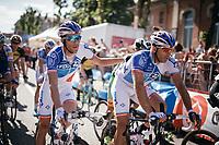 Thibaut Pinot (FRA/FDJ) thanking teammate Matthieu Ladagnous (FRA/FDJ) at the finish for escorting him safely through todays (flat) stage<br /> <br /> 100th Giro d'Italia 2017<br /> Stage 13: Reggio Emilia &rsaquo; Tortona (167km)