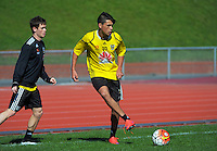 Logan Rogerson in action during the Wellington Phoenix training at Newtown Park, Wellington, New Zealand on Friday, 11 September 2015. Photo: Dave Lintott / lintottphoto.co.nz