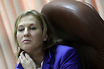 Head of Kadima Party and future opposition leader, Tzipi Livni, is seen in Israel's parliament, the Knesset, during a special session marking the International Women's Day. Photo By : Emil Salman / JINI