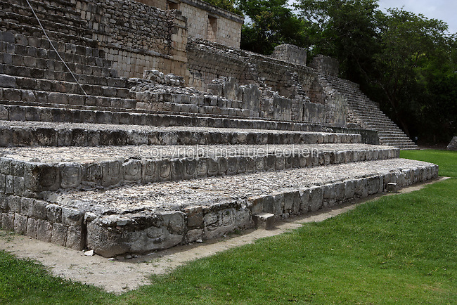 Stairway at the feet of the Five-Floor building with the glyphs on the riser of the steps, Puuc architectural style, Late Classic Period, 600 - 900 AD, Edzna, Campeche, Mexico. Picture by Manuel Cohen