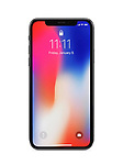 Apple iPhone X, large screen smartphone with colorful locked red blue screen. The phone is isolated on white studio background with a clipping path.
