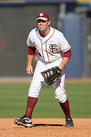 First baseman Jack Posey #5 of the Florida State Seminoles on defense versus the Boston College Eagles at Durham Bulls Athletic Park May 20, 2009 in Durham, North Carolina. (Photo by Brian Westerholt / Four Seam Images)