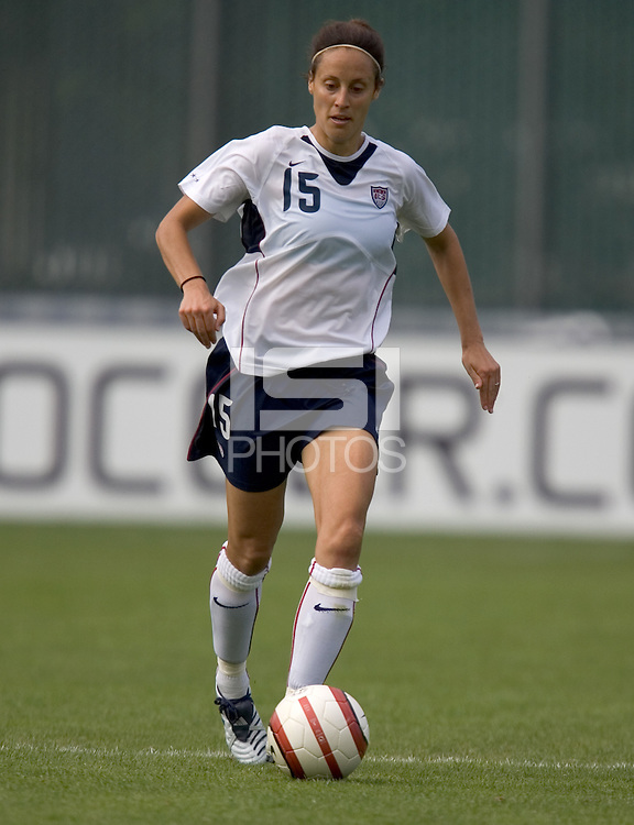 Kate Markgraf dribbles the ball. The USA defeated Ukraine, 7-0, at Harry A. Merlo Field in Portland, OR on July 10, 2005.