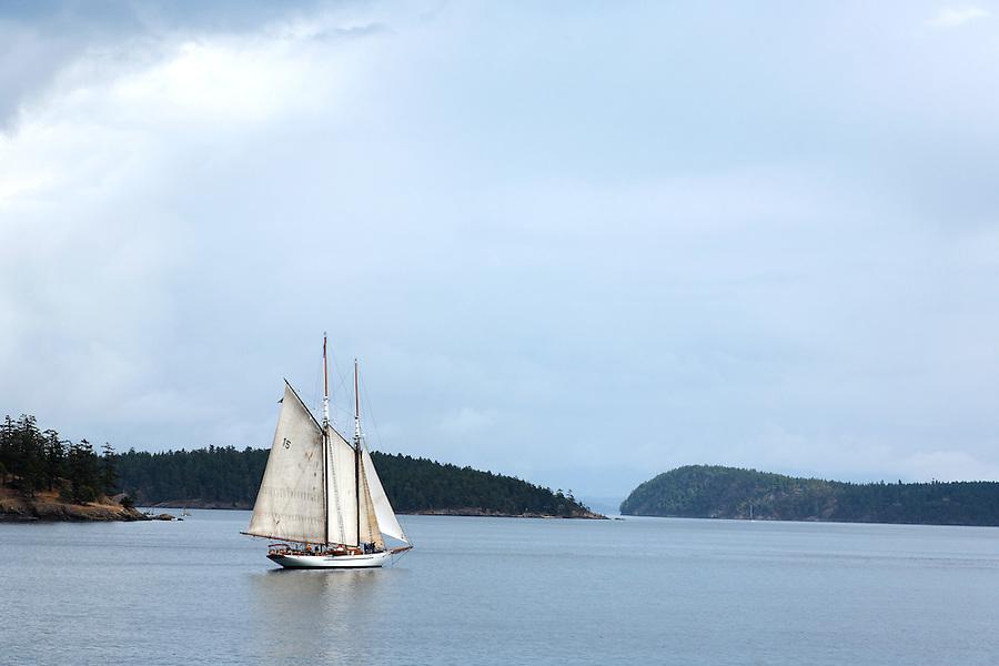 Adventuress sailing in the San Juan Islands, San Juan County, Washington, USA