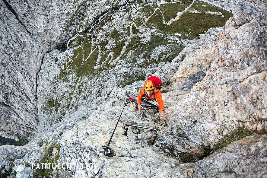 Climbing the Via Ferrata Tridentina while on the Dolomites Alta Via 2