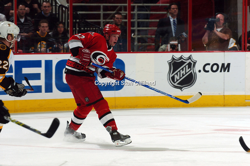 Carolina Hurricanes' Eric Staal passes across the ice during a game with the Boston Bruins at the RBC Center in Raleigh, NC Wednesday, March 1, 2006. The Hurricanes won 4-3...
