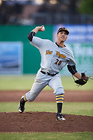 West Virginia Black Bears starting pitcher Alex Manasa (28) delivers a pitch during a game against the Batavia Muckdogs on June 20, 2018 at Dwyer Stadium in Batavia, New York.  West Virginia defeated Batavia 4-3.  (Mike Janes/Four Seam Images)