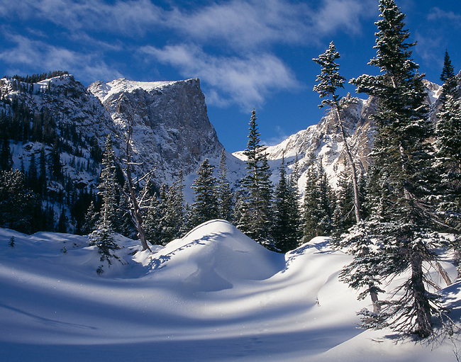 snow, winter, Hallett Peak, Rocky Mountain National Park, Colorado
