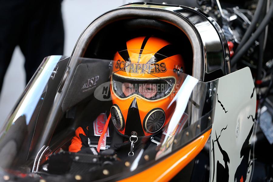 Jun 16, 2017; Bristol, TN, USA; NHRA top fuel driver Mike Salinas during qualifying for the Thunder Valley Nationals at Bristol Dragway. Mandatory Credit: Mark J. Rebilas-USA TODAY Sports