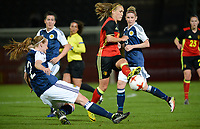 20170411 - LEUVEN ,  BELGIUM : Belgian Janice Cayman  pictured in a duel with Scottish Vaila Barsley (left) during the friendly female soccer game between the Belgian Red Flames and Scotland , a friendly game in the preparation for the European Championship in The Netherlands 2017  , Tuesday 11 th April 2017 at Stadion Den Dreef  in Leuven , Belgium. PHOTO SPORTPIX.BE | DAVID CATRY
