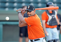 Manager Lipso Nava (17) of the Augusta GreenJackets, Class A affiliate of the San Francisco Giants, in a game against the Greenville Drive on April 7, 2011, at Fluor Field at the West End in Greenville, South Carolina. (Tom Priddy / Four Seam Images)