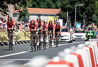 André Greiper (GER/Lotto Soudal) setting the pace for Team Lotto Soudal.<br /> <br /> <br /> Stage 3 (Team Time Trial): Cholet > Cholet (35km)<br /> <br /> 105th Tour de France 2018<br /> ©kramon