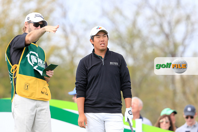 Byeong Hun An (KOR) on the 9th tee during the 3rd round of the Waste Management Phoenix Open, TPC Scottsdale, Scottsdale, Arisona, USA. 02/02/2019.<br /> Picture Fran Caffrey / Golffile.ie<br /> <br /> All photo usage must carry mandatory copyright credit (&copy; Golffile | Fran Caffrey)