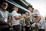 World Champion Peter Sagan (SVK) Tinkoff-Saxo does a quick pit stop during Stage 4, The Yas Stage, of the 2015 Abu Dhabi Tour running 110 km 20 laps around the Yas Marina Circuit, Abu Dhabi. 11th October 2015.<br /> Picture: ANSA/Angelo Carconi | Newsfile