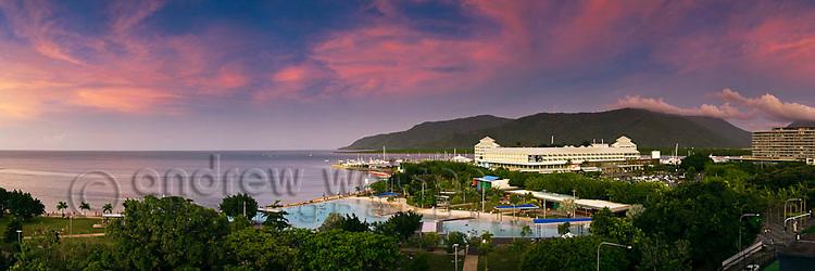 The Esplanade Lagoon and city skyline at dusk.  Cairns, Queensland, Australia