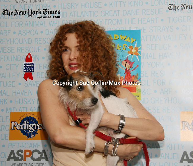 """Host Bernadette Peters at Broadway Barks 11 - a """"Pawpular"""" star-studded dog and cat adopt-a-thon on July 11, 2009 in Shubert Alley, New York City, NY. (Photo by Sue Coflin/Max Photos)"""