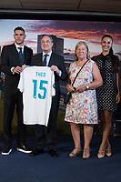 Theo Hernandez (L), Real Madrid Football Club President, Florentino Perez (2L) and his girlfriend  Adriana Pozueco (R)