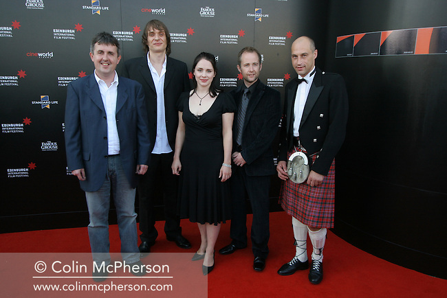 Director Douglas Mackinnon joins stars Niall Fulton, Laura Fraser, Billy Boyd and former Olympic cyclist Graeme Obree, the subject of the film, at the premiere of The Flying Scotsman at Cineworld in Edinburgh. The film marked the opening night of this year's Edinburgh International Film Festival which runs until 27th August and features films from across the world.