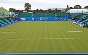 June 10th 2017,  Nottingham, England; WTA Aegon Nottingham Open Tennis Tournament day 1; Centre Court ready for the nets and almost ready for play to commence after a rain delay