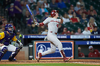 Brady Lindsly (40) of the Oklahoma Sooners follows through on his swing against the LSU Tigers in game seven of the 2020 Shriners Hospitals for Children College Classic at Minute Maid Park on March 1, 2020 in Houston, Texas. The Sooners defeated the Tigers 1-0. (Brian Westerholt/Four Seam Images)
